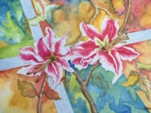 MillerM-201903-Stargazer-Lilies-Watercolor-15x19-350-framed-002