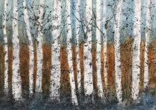RauschenfelsS-202001-Birches-Up-North-28x22-matted-and-framed-Sold