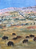 RauschenfelsS-202007-Bison-on-the-Range-30x22-matted-and-framed-375